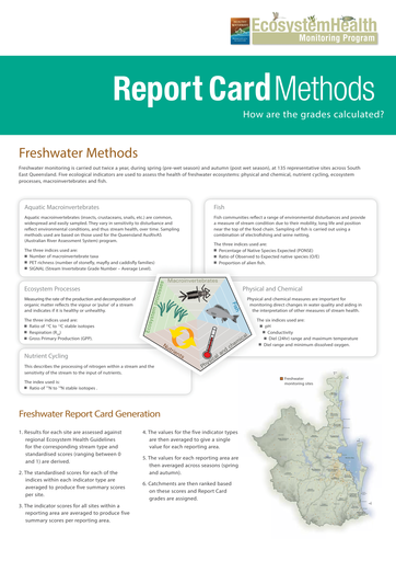 2013 Healthy Waterways Annual Report Card Methods