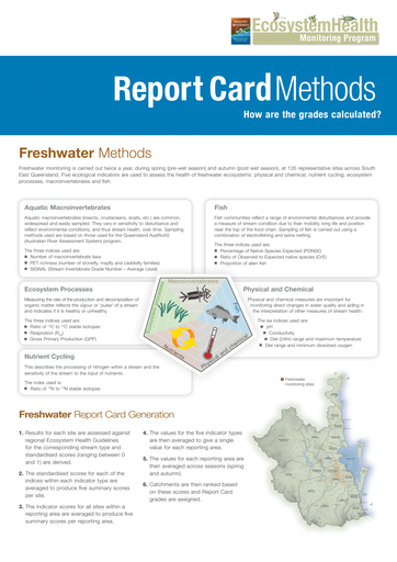 2012 Healthy Waterways Annual Report Card Methods