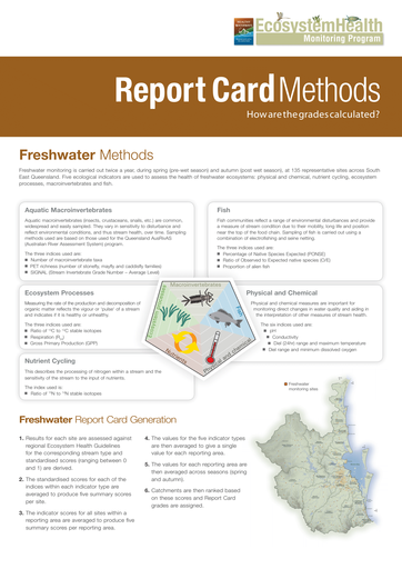 2011 Healthy Waterways Annual Report Card Methods