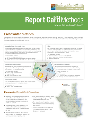 2010 Healthy Waterways Annual Report Card Methods