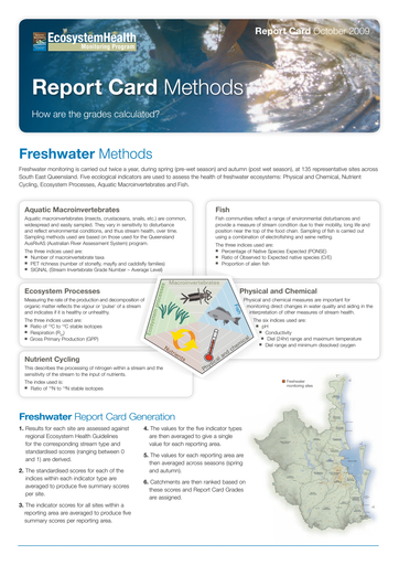 2009 Healthy Waterways Annual Report Card Methods