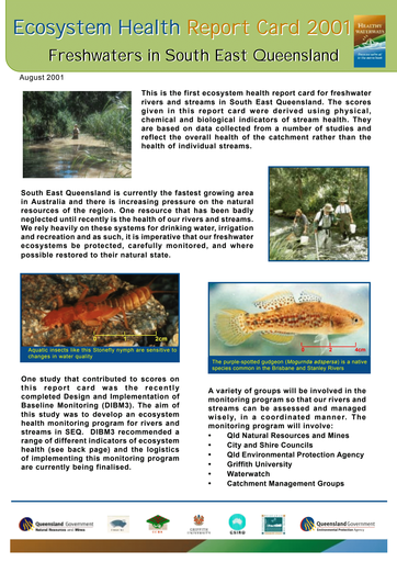 2001 Healthy Waterways Report Card - Estuarine/Marine
