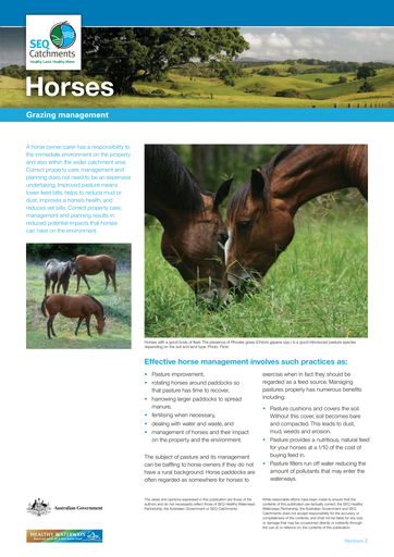 Horses - Grazing Management