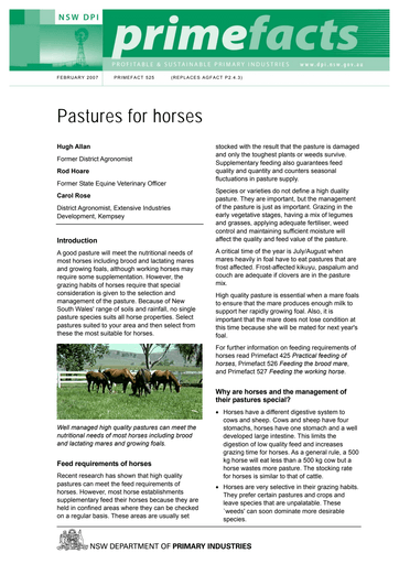 Pasture for Horses: Part 4: Australian Native Grasses
