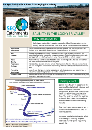 Lockyer Salinity Fact Sheet 2: Managing for salinity