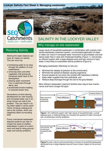 Lockyer Salinity Fact Sheet 3: Managing wastewater