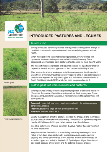 Introduced Pastures and Legumes Fact Sheet