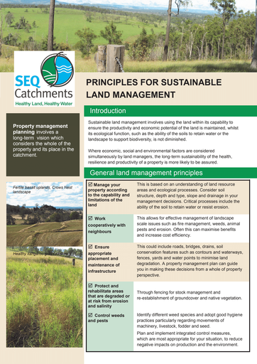 Principles for Sustainable Land Management fact sheet