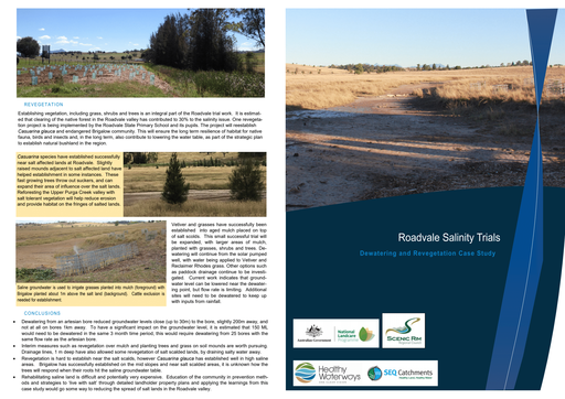 Roadvale Salinity Trials Dewatering and revegetation case study