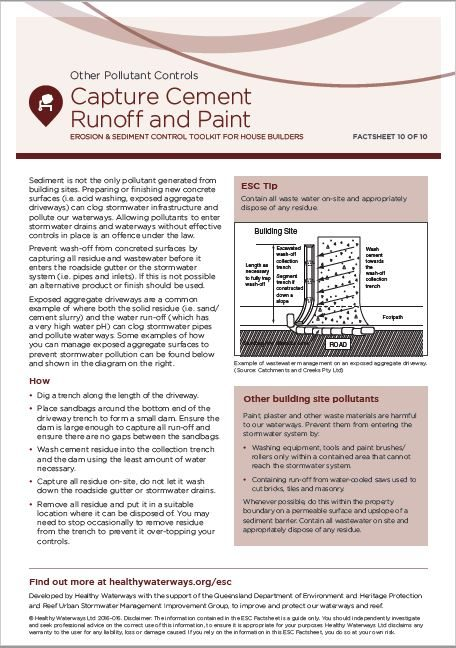 ESC Fact sheet 10: Capture Cement Runoff and Paint