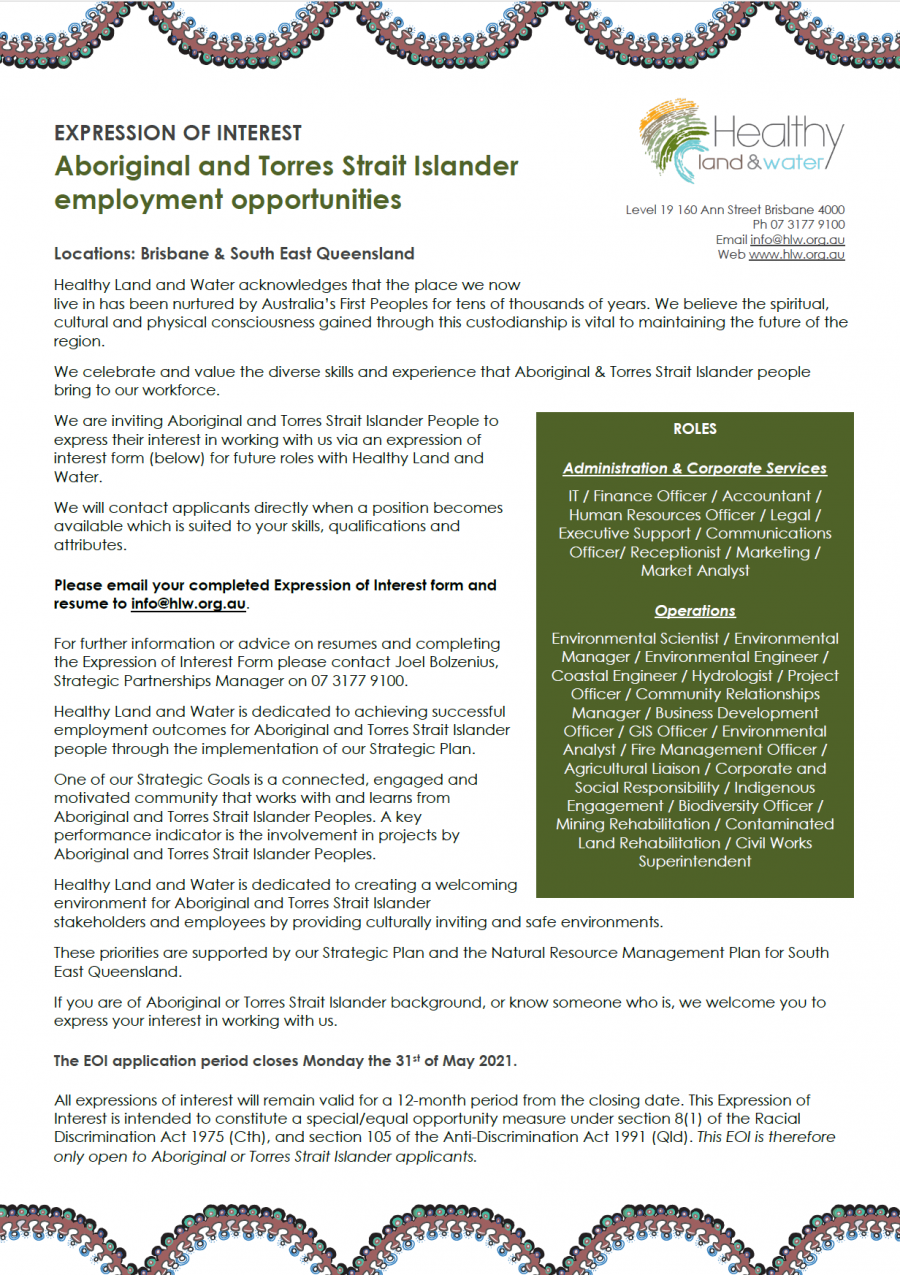 Aboriginal and Torres Strait Islander employment opportunities EOI Healthy Land and Water 2021