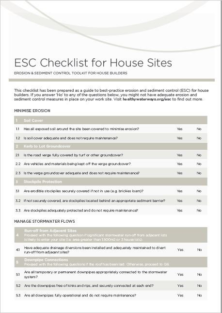 ESC Checklist for House Sites
