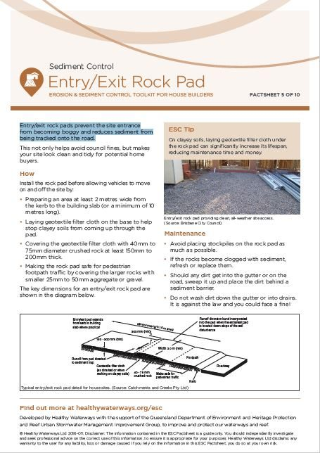 ESC Factsheet 5: Entry/Exit Rock Pad