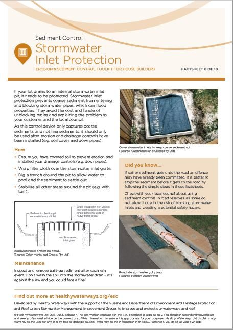 ESC Factsheet 6: Stormwater Inlet Protection