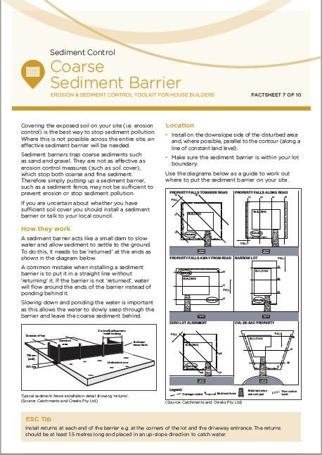 ESC Fact sheet 7: Coarse Sediment Barrier