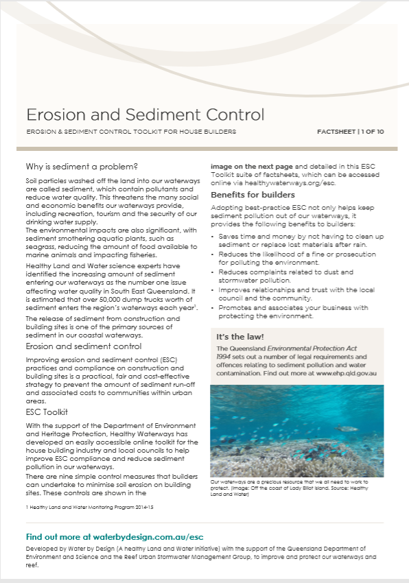 Erosion and Sediment Control Toolkit for House Builders