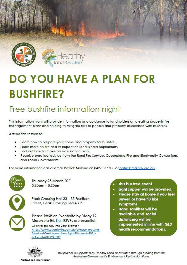 Free bushfire information night flyer