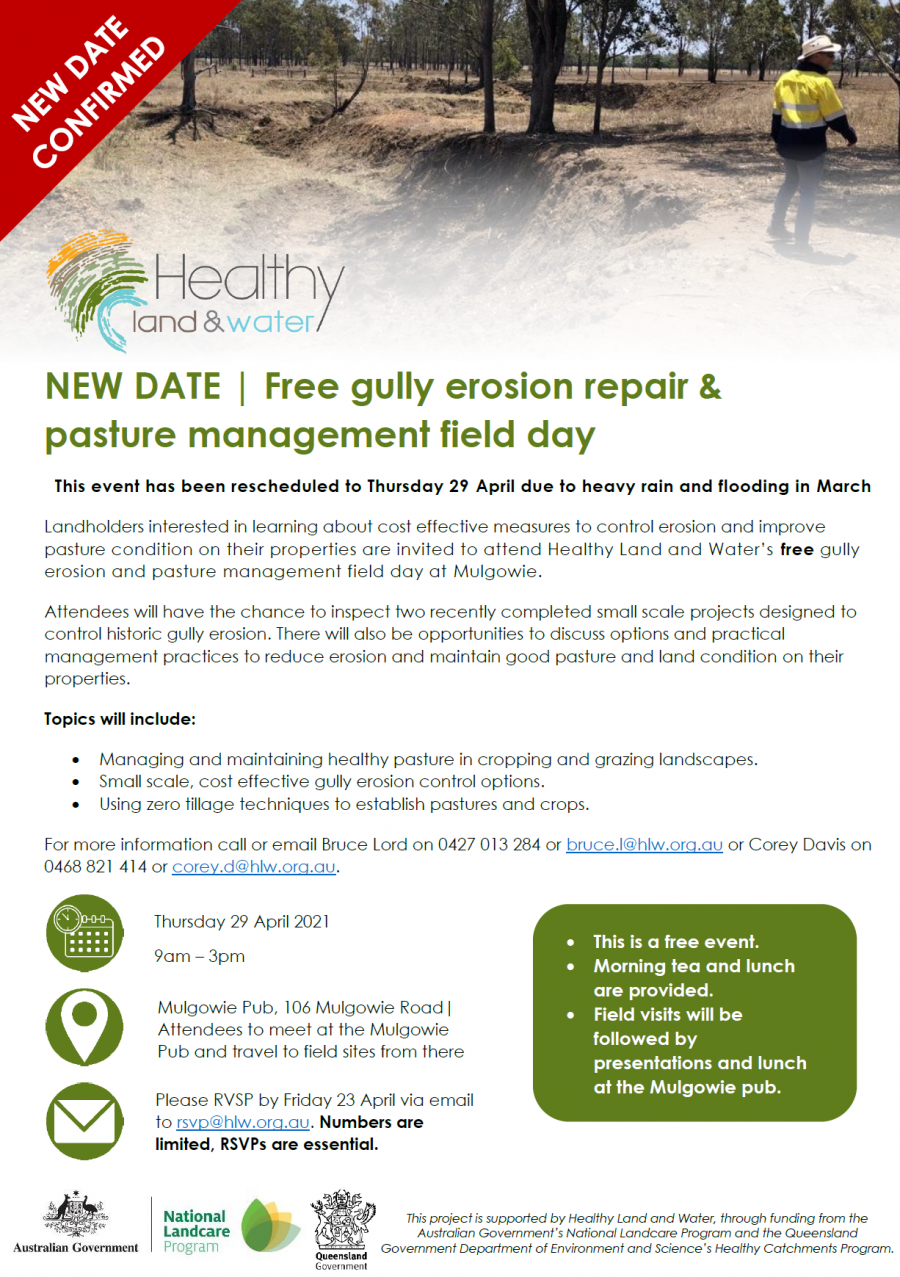 NEW DATE | Free gully erosion repair & pasture management field day