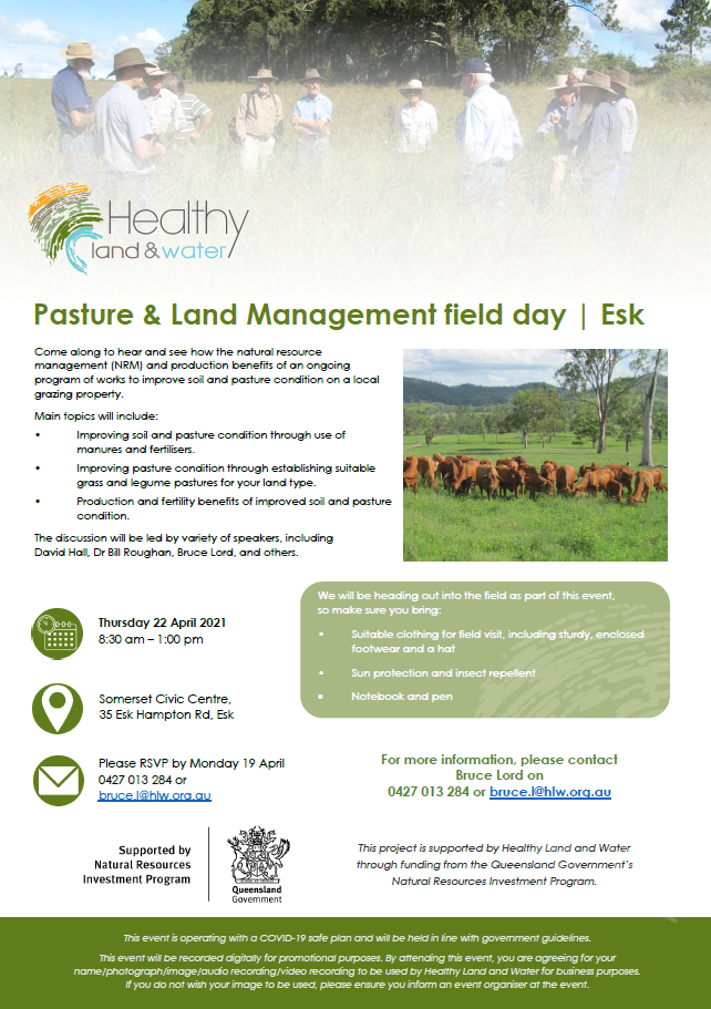 Pasture & land management field day flyer - 22 April 2021 | Esk