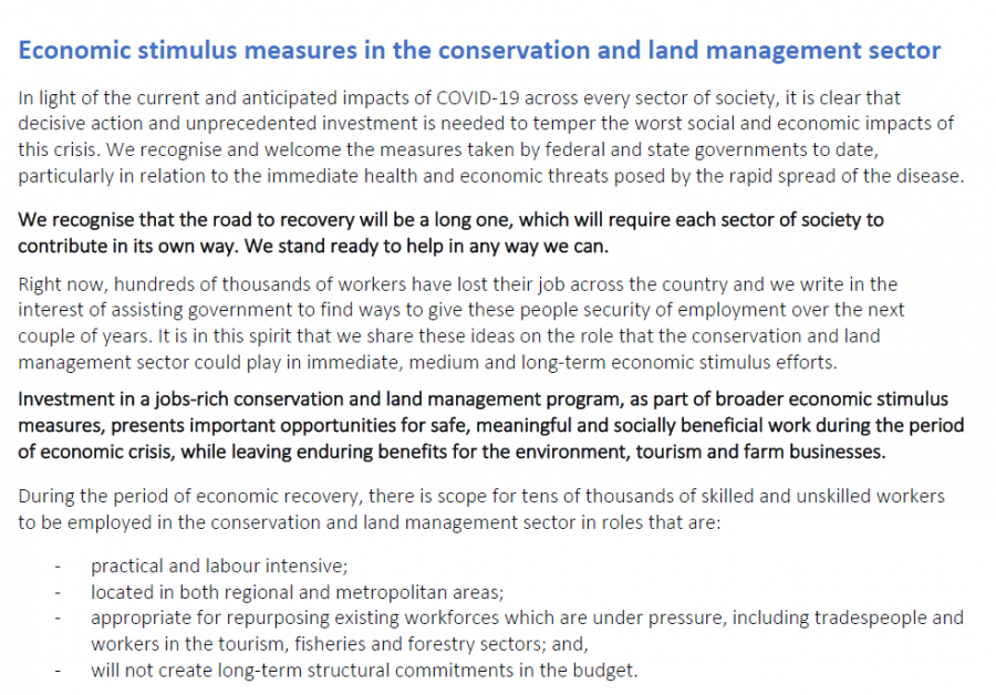 Economic stimulus measures in the conservation and land management sector